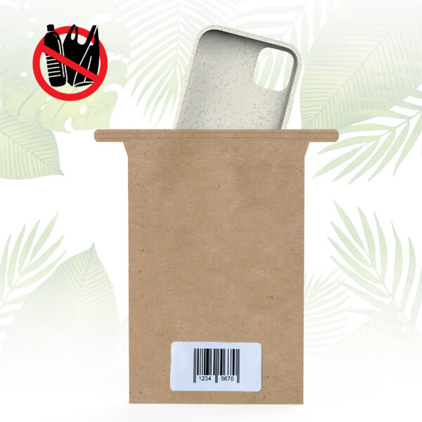 Single Paper Bag for Phone Cases neutral with white label